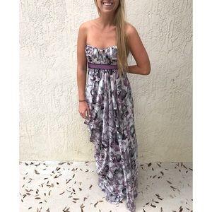BCBG Max Azria Purple Water Color Strapless Dress